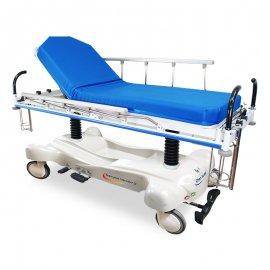 hydraulic-nursing-emergency-stretcher-transport-trolley-stainless-steel-mobile-trolley-eal-SS366 急診油壓推床-直立柱-頭腳傾斜-鋁合金護欄-腳踏式-醫院用-醫療用-康復用-急診用-診察用-看護用-SS366-真廣